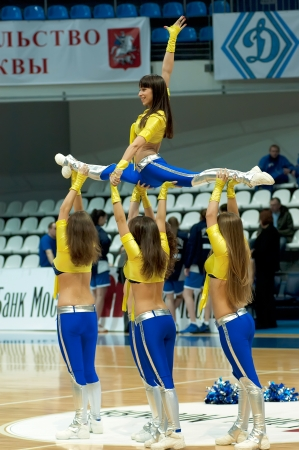 MOSCOW - APRIL 1  Cheerleaders groupe VIP dance on a game Dynamo MSK vs Dynamo NSK of women RBA National tournament on April 1, in Moscow, Russia