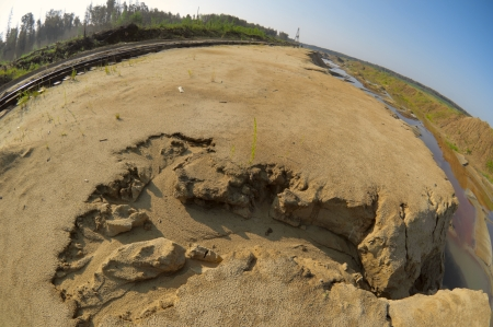 Sand ravine and career valley in fisheye view photo