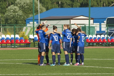MOSCOW - AUGUST 18  Unidentified players of FC Kubanochka team just before game Kubanochka vs CSP Izmailovo on Russian tournament of wemen football league on August 18, 2013, in Moscow, Russia