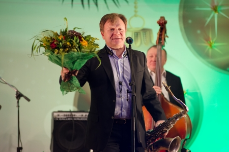 deserved: MOSCOW - DECEMBER 26: Russian musician Igor Butman  on a New Year concert on December 26, 2013 in Moscow, Russia