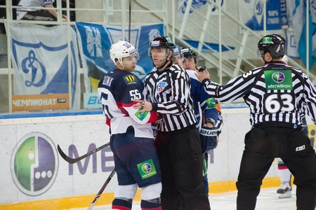 MOSCOW - JANUARY 28, 2014: Mario Bliznak during the KHL hockey match Dynamo Moscow vs Slovan Bratislava in sport palace Luzhniki in Moscow, Russia. Final score 2:3