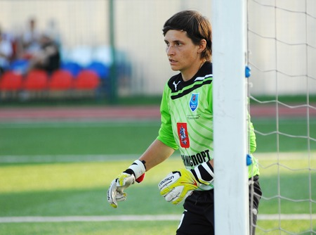 MOSCOW - AUGUST 18: Kamisheva N. (5), goakeeper of CSP Izmailovo team on game Kubanochka vs CSP Izmailovo on Russian tournament of wemen football league on August 18, 2013, in Moscow, Russia