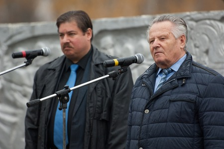 speach: RUSSIA, BORODINO - OCTOBER 12: V. Klimov and R. Medinskiy speach on reenactment of the battle in WWII near the Borodino village in 1941, in Moscow region, Borodino, on 12 October, 2014, Russia