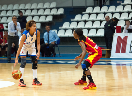 ashdod: MOSCOW - DECEMBER 4, 2014: K. Keyru (4) vs D. Hightower (6) in action during the International Europe bascketball league match Dynamo Moscow vs Maccabi Ashdod Israel in sport palace Krilatskoe, Moscow, Russia. Dynamo loss 59:67 Editorial