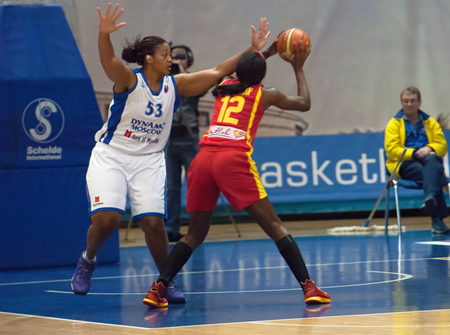 maccabi: MOSCOW - DECEMBER 4, 2014: S. Phillips (53) vs L. Jackson (12)oin the International Europe bascketball league match Dynamo Moscow vs Maccabi Ashdod Israel in sport palace Krilatskoe, Moscow, Russia. Dynamo loss 59:67