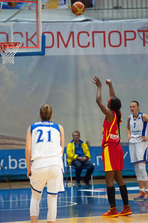 ashdod: MOSCOW - DECEMBER 4, 2014: L. Jackson (12) on free throw oi the International Europe bascketball league match Dynamo Moscow vs Maccabi Ashdod Israel in sport palace Krilatskoe, Moscow, Russia. Dynamo loss 59:67