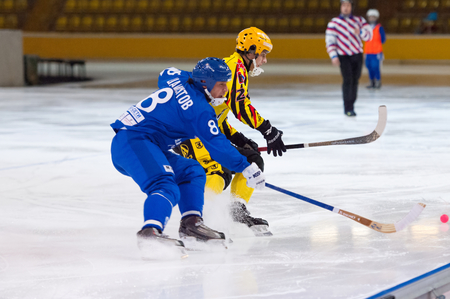 intermission: MOSCOW - DECEMBER 12, 2014: Shamsutov R. (8, b) and Antipov A. (24, y) in action during the Russian  bandy league game Dynamo Moscow vs SKA Neftyanik in sport palace Krilatskoe, Moscow, Russia. Dynamo won 9:1 Editorial