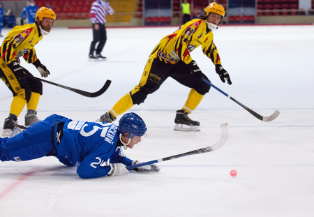 arbiter: MOSCOW - DECEMBER 12, 2014: Flying Granovsky Vasily (25) during the Russian  bandy league game Dynamo Moscow vs SKA Neftyanik in sport palace Krilatskoe, Moscow, Russia. Dynamo won 9:1
