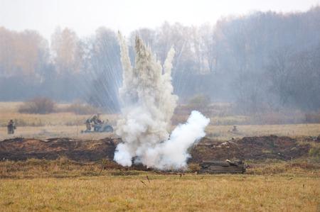 RUSSIA, BORODINO - OCTOBER 12: Bombing the field on reenactment of the battle in WWII near the Borodino village in 1941, in Moscow region, Borodino, on 12 October, 2014, Russia Editorial