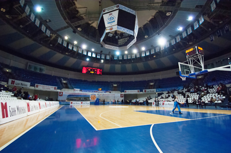 ashdod: MOSCOW - DECEMBER 4, 2014: Spot palace Krilatskoe in fisheye during the  International Europe bascketball league match Dynamo Moscow vs Maccabi Ashdod Israel in sport palace Krilatskoe, Moscow, Russia. Dynamo loss 59:67