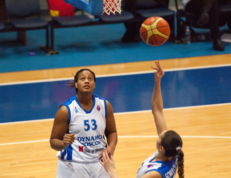 maccabi: MOSCOW - DECEMBER 4, 2014: S. Phillips (53) under the basket in action during the International Europe bascketball league match Dynamo Moscow vs Maccabi Ashdod Israel in sport palace Krilatskoe, Moscow, Russia. Dynamo loss 59:67