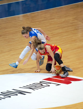 maccabi: MOSCOW - DECEMBER 4, 2014: T. Grigorieva (23) fight on the International Europe bascketball league match Dynamo Moscow vs Maccabi Ashdod Israel in sport palace Krilatskoe, Moscow, Russia. Dynamo loss 59:67