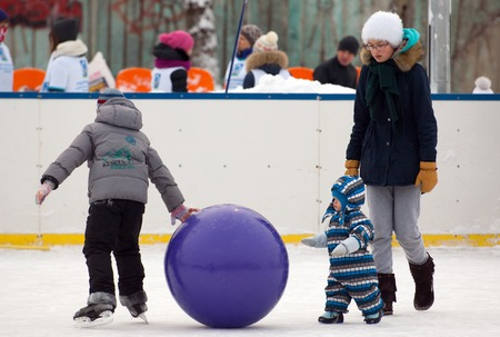 sport event: MOSCOW - JANUARY 25: Unidentified kids play with ball on family sport event on January 25, 2015 in Moscow, Russia