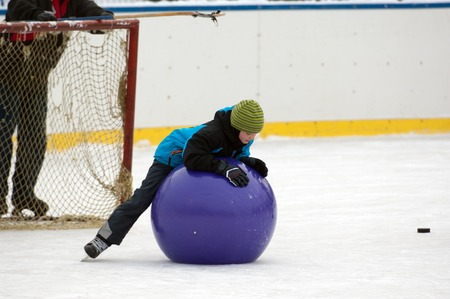 sport event: MOSCOW - JANUARY 25: Unidentified kid play with a ball on family sport event on January 25, 2015 in Moscow, Russia