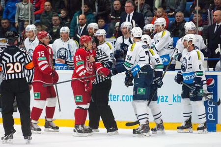 MOSCOW - JANUARY 10: Unidentified players fights on hockey game Vityaz vs Medvezchak on Russian KHL premier hockey league Championship on January 10, 2015, in Moscow, Russia. Medvezcak won 3:2