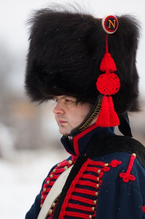 musketeer: RUSSIA, APRELEVKA - FEBRUARY 7: Unidentified russian musketeer posing on reenactment of the Napoleonic maneuvers near the Aprelevka city, in 1812. Moscow region, Aprelevka, 7 February, 2015, Russia