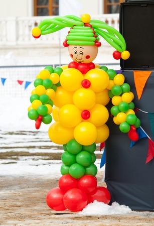 sudarium: PODOLSK, OSTAFIEVO, RUSSIA - FEBRUARY 21: Ballons cloun on Russian religious and folk holiday Maslenitsa in estate Ostafievo on February 21, 2015, near Podolsk, Russia
