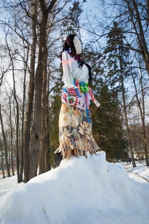 sudarium: PODOLSK, OSTAFIEVO, RUSSIA - FEBRUARY 21: Unidentified people on Russian religious and folk holiday Maslenitsa in estate Ostafievo on February 21, 2015, near Podolsk, Russia