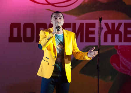 pop idol: MOSCOW, RUSSIA - MARCH 5: Singer Sergey Kuprik sing on a scene during Womens Day performance in Moscow culture center Vostok on March 5, 2015 in Moscow, Russia