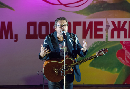 pop idol: MOSCOW, RUSSIA - MARCH 5: Vladimir Markin on a scene during Womens Day performance in Moscow culture center Vostok on March 5, 2015 in Moscow, Russia Editorial