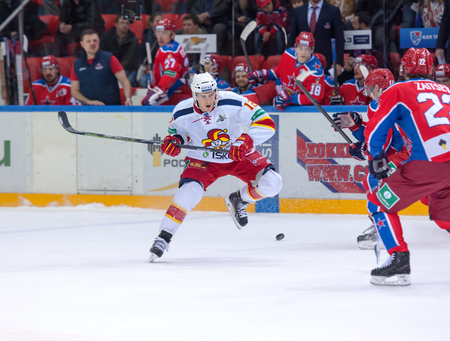 steve: MOSCOW - MARCH 12: Steve Moses (12) in action on hockey game Yokerit vs CSKA on Russia KHL championship on March 12, 2015, in Moscow, Russia. CSKA won 3:2