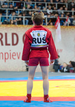 sambo: RUSSIA, MOSCOW - MARCH 27: Unidentified on World Sambo Championship Kharlampiev memorial in Luzhniki sport palace, Moscow, Russia, 2015 Editorial