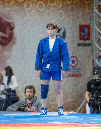 sambo: RUSSIA, MOSCOW - MARCH 27: Tatiana Osoianu just before fight on World Sambo Championship Kharlampiev memorial in Luzhniki sport palace, Moscow, Russia, 2015 Editorial