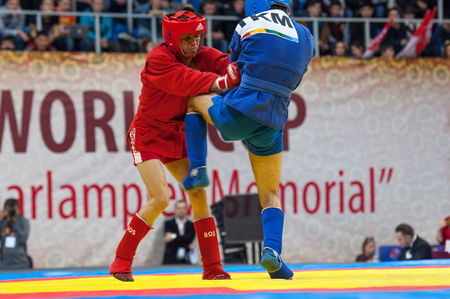 sambo: RUSSIA, MOSCOW - MARCH 27: Kanzhanov B. (Red) vs Umbayev N. (Blue) on World Sambo Championship Kharlampiev memorial in Luzhniki sport palace, Moscow, Russia, 2015