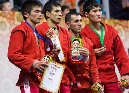 RUSSIA, MOSCOW - MARCH 27: Khasanov E., Sukhomlinov E., Ernazov S., Serikov N., on podium on World Sambo Championship Kharlampiev memorial in Luzhniki sport palace, Moscow, Russia, 2015