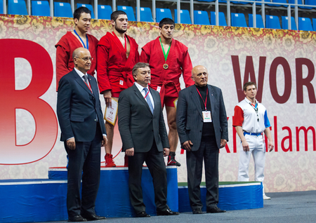 sambo: RUSSIA MOSCOW  MARCH 27: Unidentified prizewinners and honoured guests on World Sambo Championship Kharlampiev memorial in Luzhniki sport palace Moscow Russia 2015