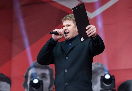 commentator: RUSSIA MOSCOW  APRIL 18: Sport commentator Dmitry Guberniev speak on event of 80th anniversary of Spartak team in Luzhniki Moscow Russia 2015 Editorial