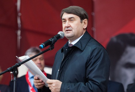 spartak: RUSSIA MOSCOW  APRIL 18: Assistant to the president Putin Igor Levitin speak on event of 80th anniversary of Spartak team in Luzhniki Moscow Russia 2015