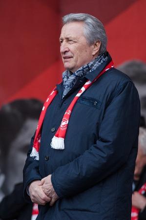 spartak: RUSSIA MOSCOW APRIL 18: Legendary hockey player Alexander Yakushev speak on event of 80th anniversary of Spartak team in Luzhniki Moscow Russia 2015 Editorial