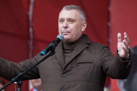 spartak: RUSSIA MOSCOW  APRIL 18: A. Vorobyov Head of Department of physical education and sport speak on event of 80th anniversary of Spartak team in Luzhniki Moscow Russia 2015