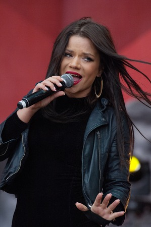spartak: RUSSIA MOSCOW  APRIL 18: Singer Bianka sing a song on event of 80th anniversary of Spartak team in Luzhniki Moscow Russia 2015