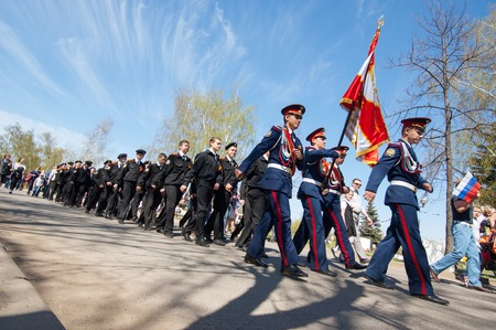 squad: RUSSIA ROSTOV CITY  MAY 9: Unidentified military scouts squad  walk on Victory day parade dedicated 70 anniversary of WWII end on May 9 2015 Rostov the Great city Russia