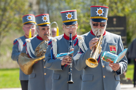 wwii: RUSSIA, ROSTOV CITY - MAY 9: Unidentified orchestra musicians walk on Victory day parade dedicated 70 anniversary of WWII end on May 9, 2015, Rostov the Great city, Russia