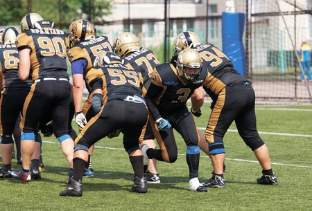 run out: RUSSIA, TROITSK CITY - JULY 11:  Sergei Altukhov 3 run out on Russian american football Championship game Spartans vs Raiders 52 on July 11, 2015, in Moscow region, Troitsk city, Russia