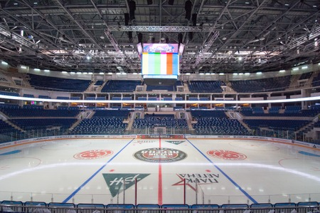 hockey: RUSSIA, MOSCOW - APRIL 27, 2015: Ice Palace VTB Moscow just before hockey game CSKA vs SKA teams on Hockey Cup of Legends in Ice Palace VTB, Moscow, Russia Editorial