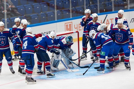 legends: RUSSIA, MOSCOW - APRIL 27, 2015: Unidentified players of SKA team just before game CSKA vs SKA teams on Hockey Cup of Legends in Ice Palace VTB, Moscow, Russia
