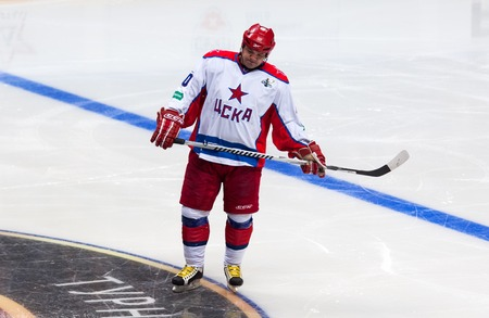 legends: RUSSIA, MOSCOW - APRIL 27, 2015: Andrey Kovalenko 40, forward of CSKA Legends team on hockey game CSKA vs SKA teams on Hockey Cup of Legends in Ice Palace VTB, Moscow, Russia Editorial