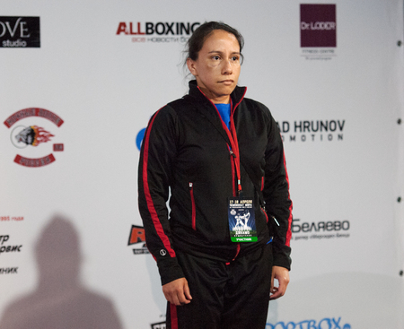 medalist: RUSSIA, MOSCOW - APRIL 18 2015: Adriana Rozaz, bronze medalist of the World Hand to hand combat Championship in Moscow, Russia, 2015