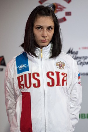 medalist: RUSSIA, MOSCOW - APRIL 18 2015: Viktoria Oleynikova, silver medalist of the World Hand to hand combat Championship in Moscow, Russia, 2015 Editorial