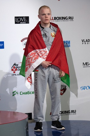 medalist: RUSSIA, MOSCOW - APRIL 18 2015: Kalechitz Andrew, bronze medalist of the World Hand to hand combat Championship in Moscow, Russia, 2015
