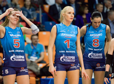 MOSCOW - DECEMBER 2: A. Markova 5, Y. Morozova 1 and N. Obmochaeva 8 on a game Dynamo MSK vs Dynamo KZN on Russian National wemen Volleyball tournament on December 2, in Moscow, Russia, 2015 Editorial