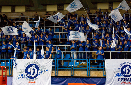 dynamo: MOSCOW - DECEMBER 2: Fans of Dynamo team on a game Dynamo MSK vs Dynamo KZN on Russian National wemen Volleyball tournament on December 2, in Moscow, Russia, 2015