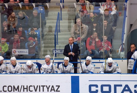 MOSCOW - OCTOBER 17, 2015: Barys team during hockey game Vityaz vs Barys on Russia KHL championship on October 17, 2015, in Moscow, Russia. Vityaz won 4:3