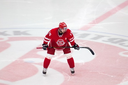 attacker: MOSCOW - OCTOBER 17, 2015: Roman Horak 15 wait on face-off during hockey game Vityaz vs Barys on Russia KHL championship on October 17, 2015, in Moscow, Russia. Vityaz won 4:3