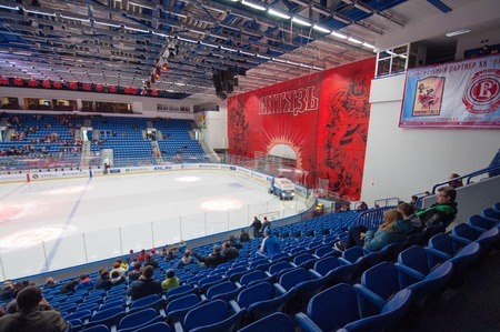 interrior: MOSCOW - OCTOBER 17, 2015: Interrior of Vityaz Ice arena just before hockey game Vityaz vs Barys on Russia KHL championship on October 17, 2015, in Moscow, Russia. Vityaz won 4:3