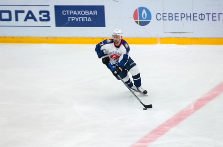 ice arena: PODOLSK - NOVEMBER 21, 2015: Felix Schutz (17) in action during hockey game Vityaz vs Torpedo on Russia KHL championship in Vutyaz ice arena, Podolsk, Russia. Torpedo won 4:3